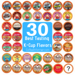 may K-cups next to each other with the words 30 best tasting k-cup flavors in the center