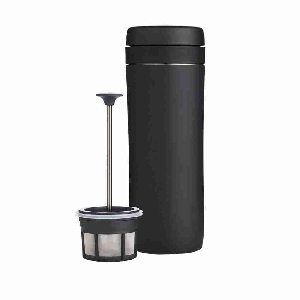 Black Espro Travel Coffee Press taken apart in two pieces for display. Best coffee maker for college students who need to travel.