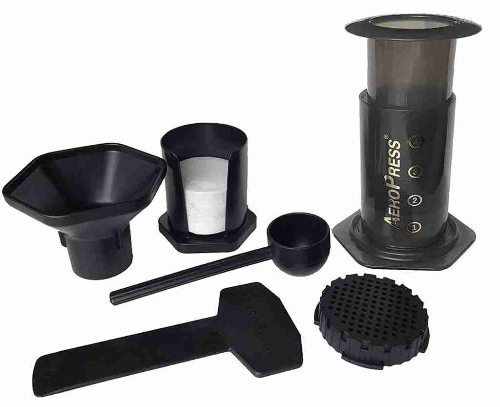 Aerobie AeroPress taken apart. The best coffee maker for outdoors with best flavor.