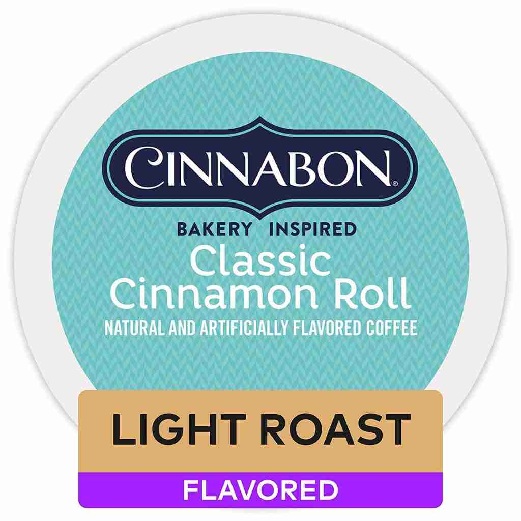 Cinnabon brand classic cinnamon roll coffee k-cup. One of The best K-Cup flavors for flavored coffee.