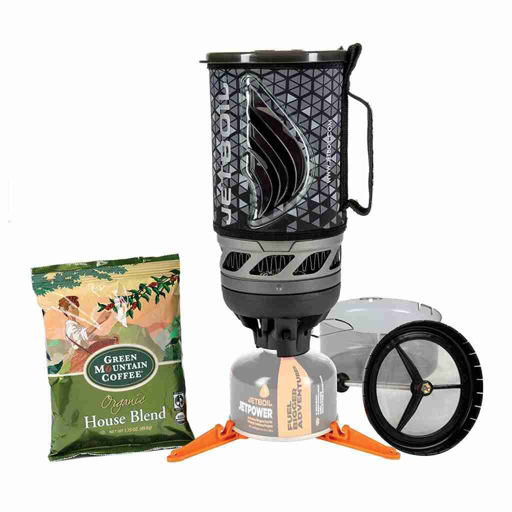 Jetboil Flash Java Kit Laid out. The best coffee maker for camping for fast brew time.