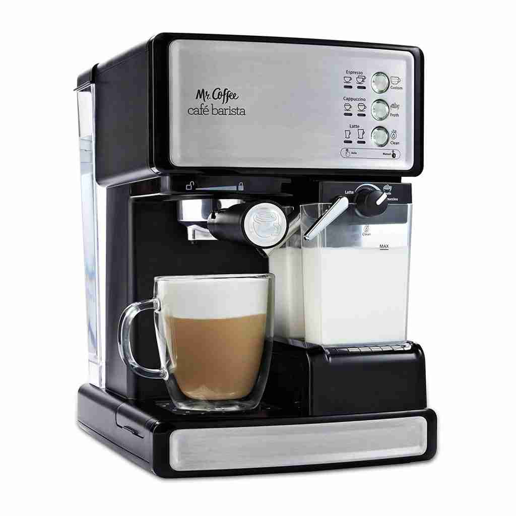 Mr. Coffee Cafe Barista Premium Cappuccino system after it just brewed a Latte and foamed milk. Best coffee maker for students who want to make lattes.