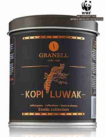 A can of the world's best and most expensive coffee, Kopi Luwak. Black exotic can from the brand Granell.