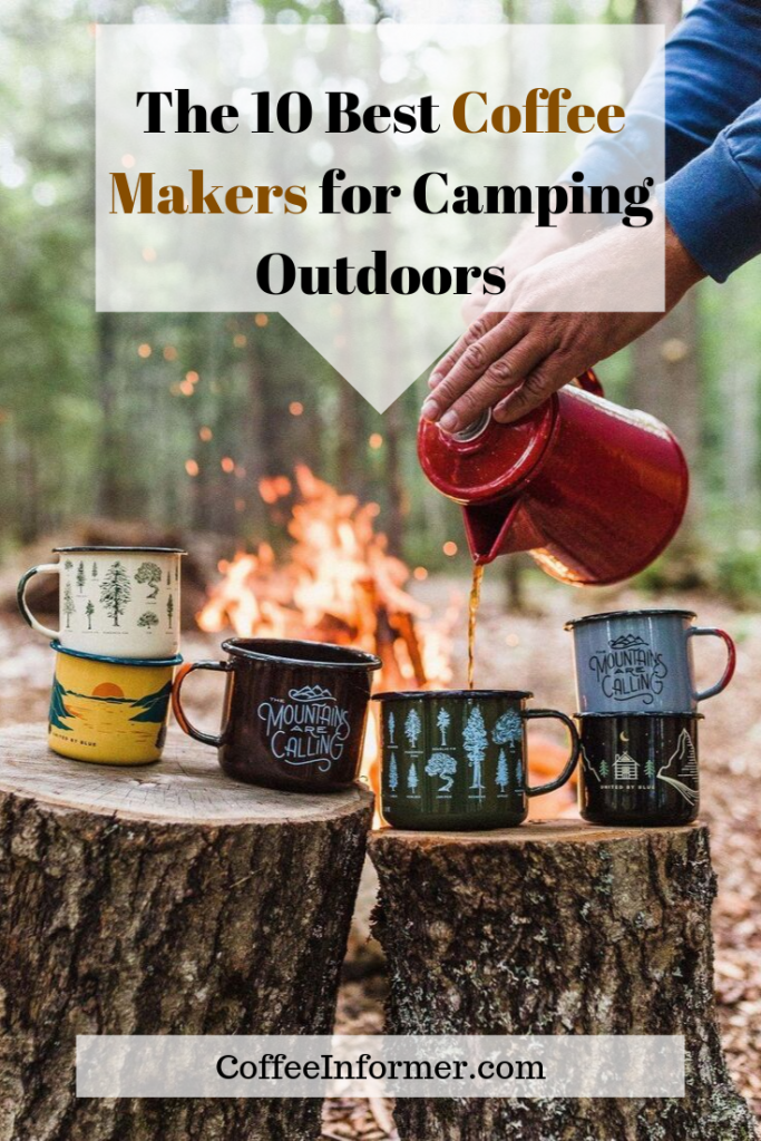 Info-graphic with someone pouring coffee into cups outdoors near a camp fire.
