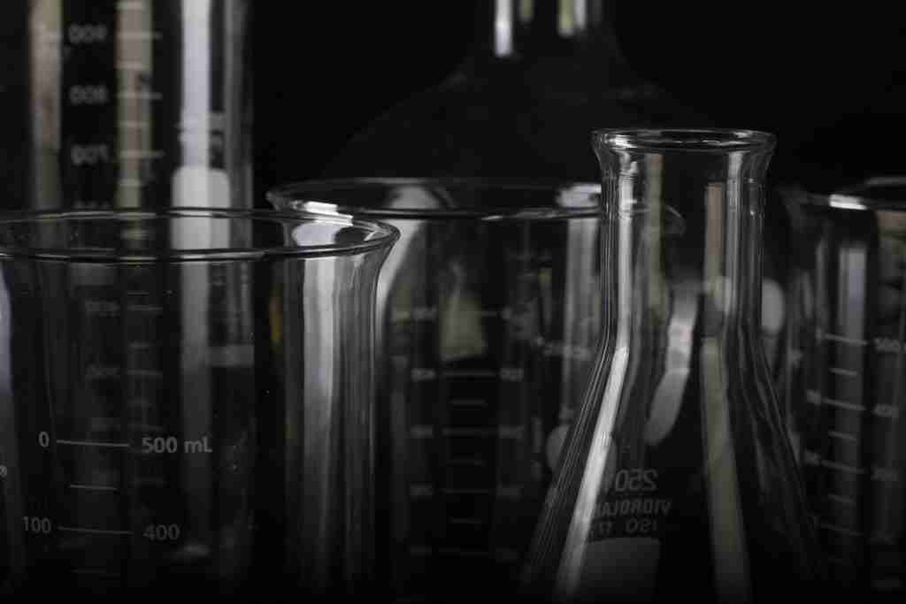 Glass beakers used for science