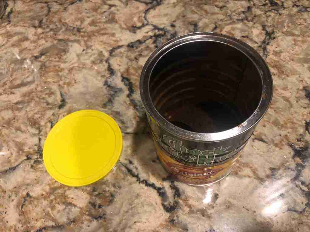 Stale coffee in a chock full o nuts can.